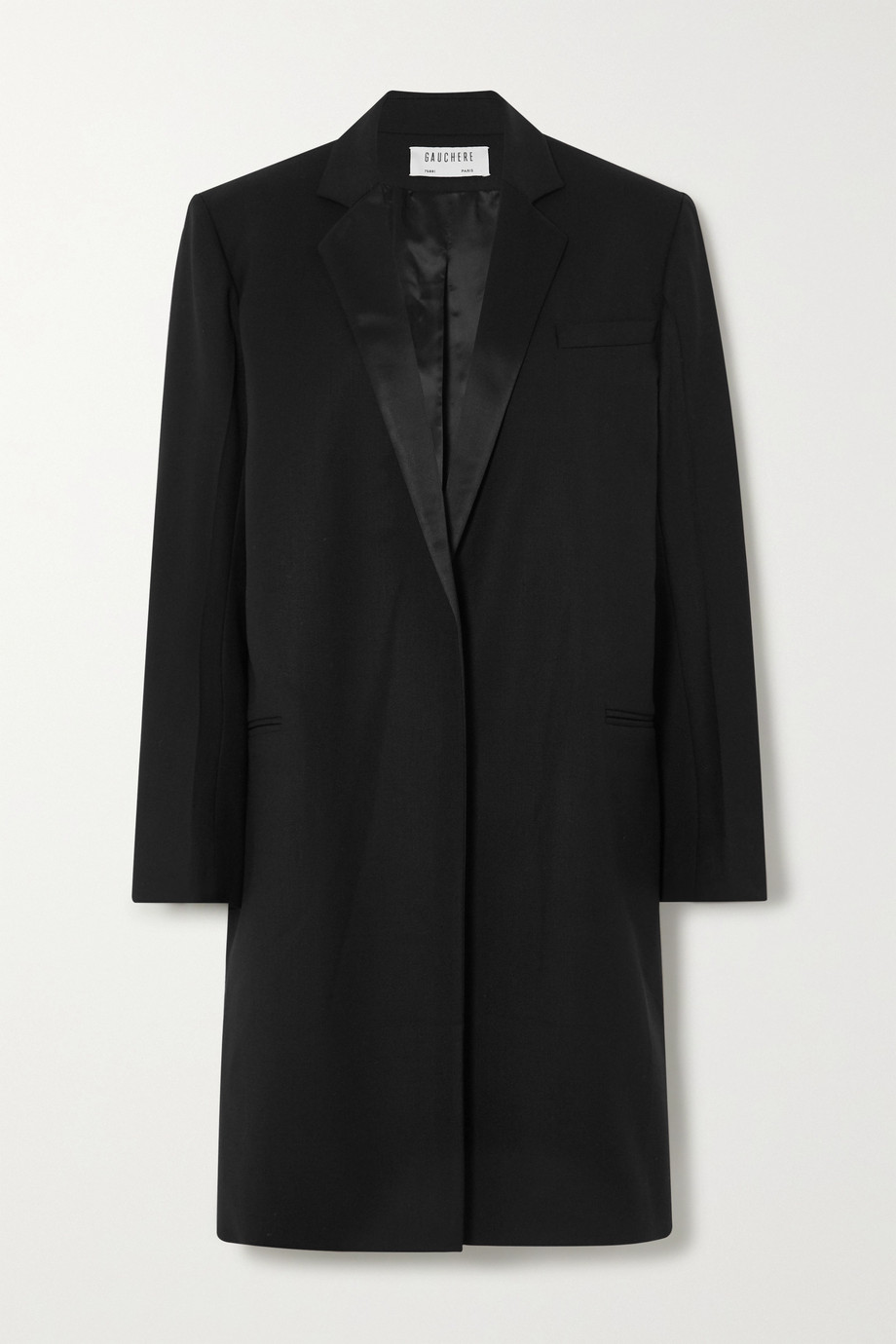 GAUCHERE Ritha satin-trimmed wool-blend coat