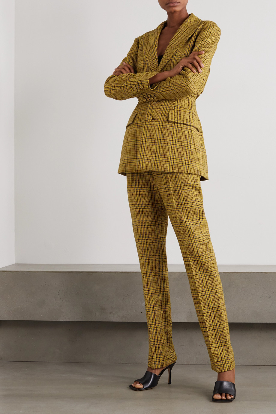 GAUCHERE Rubi Prince of Wales checked wool straight-leg pants