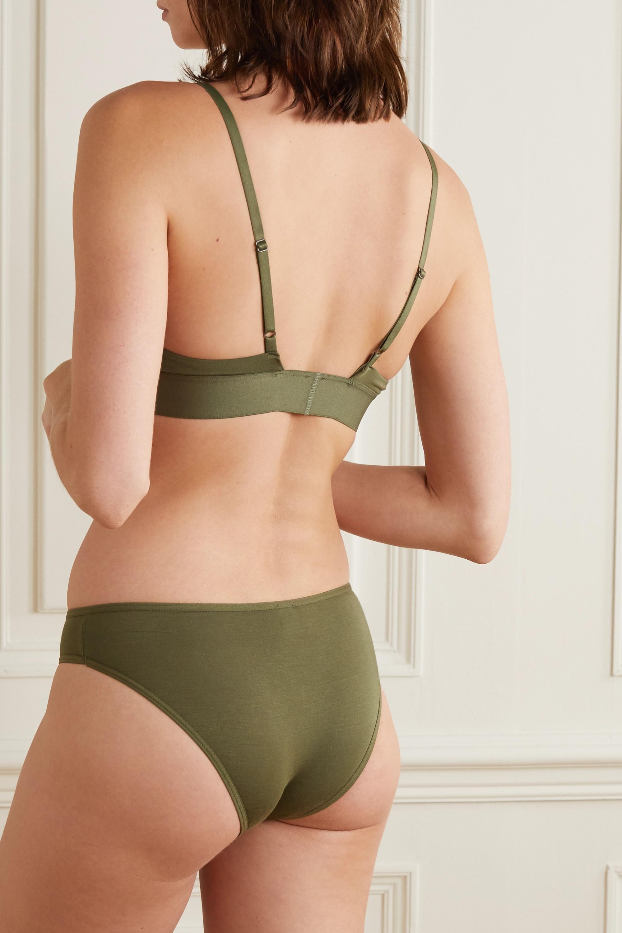 Army Green + Net Sustain Stretch-bamboo Triangle Bra | Baserange