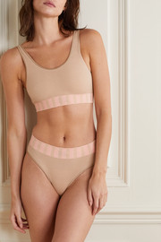 Baserange + NET SUSTAIN two-tone ribbed organic cotton-blend soft-cup bra