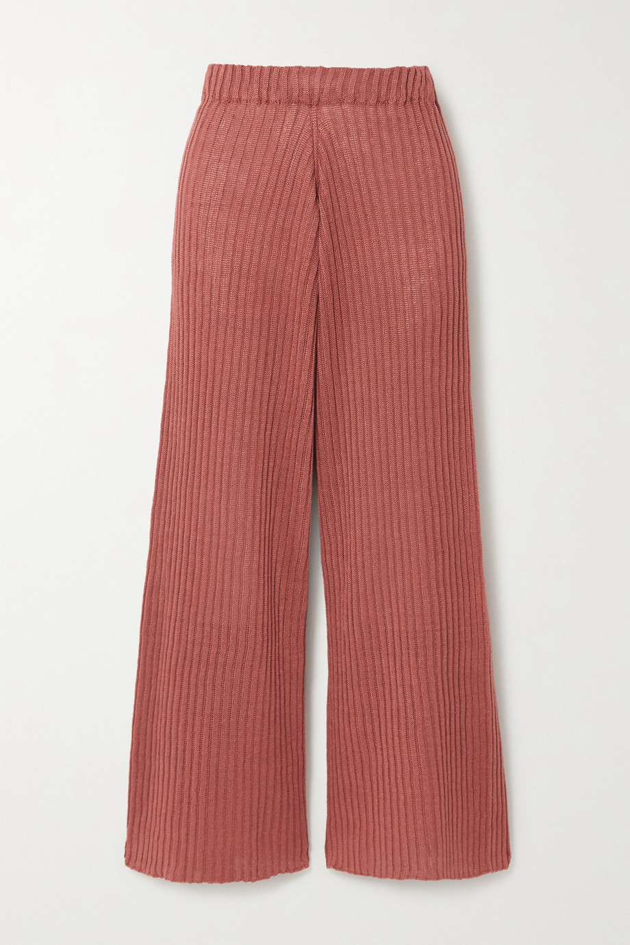 Baserange + NET SUSTAIN Loch ribbed linen wide-leg pants