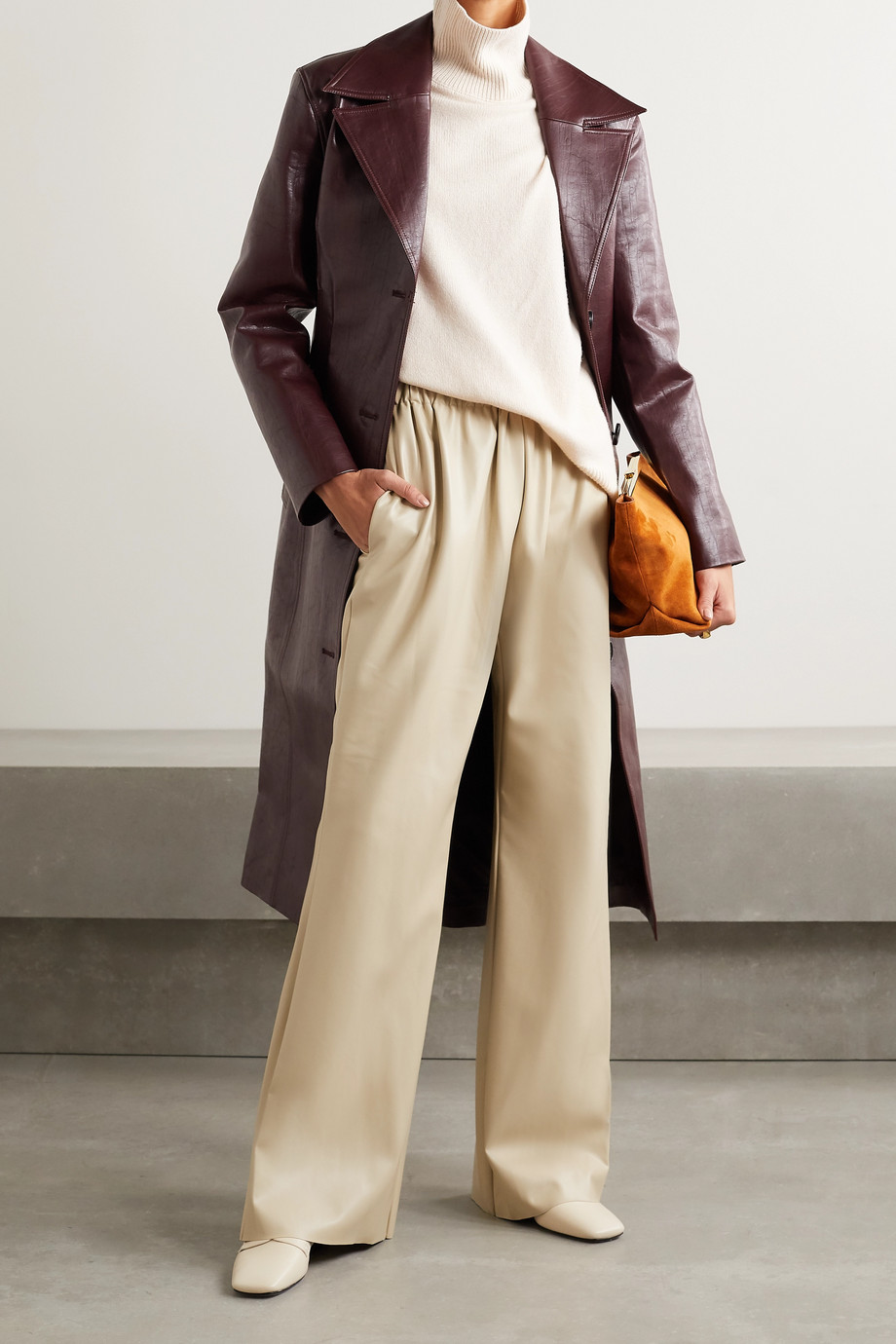 Deveaux Pantalon large en cuir synthétique Savannah