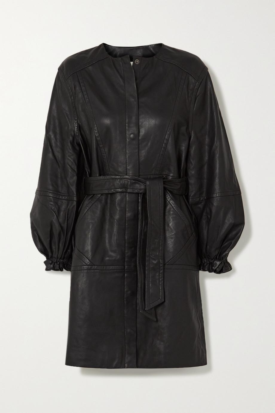 MUNTHE Belted leather mini dress