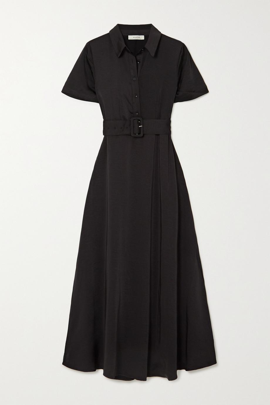 MUNTHE Belted washed-satin midi shirt dress
