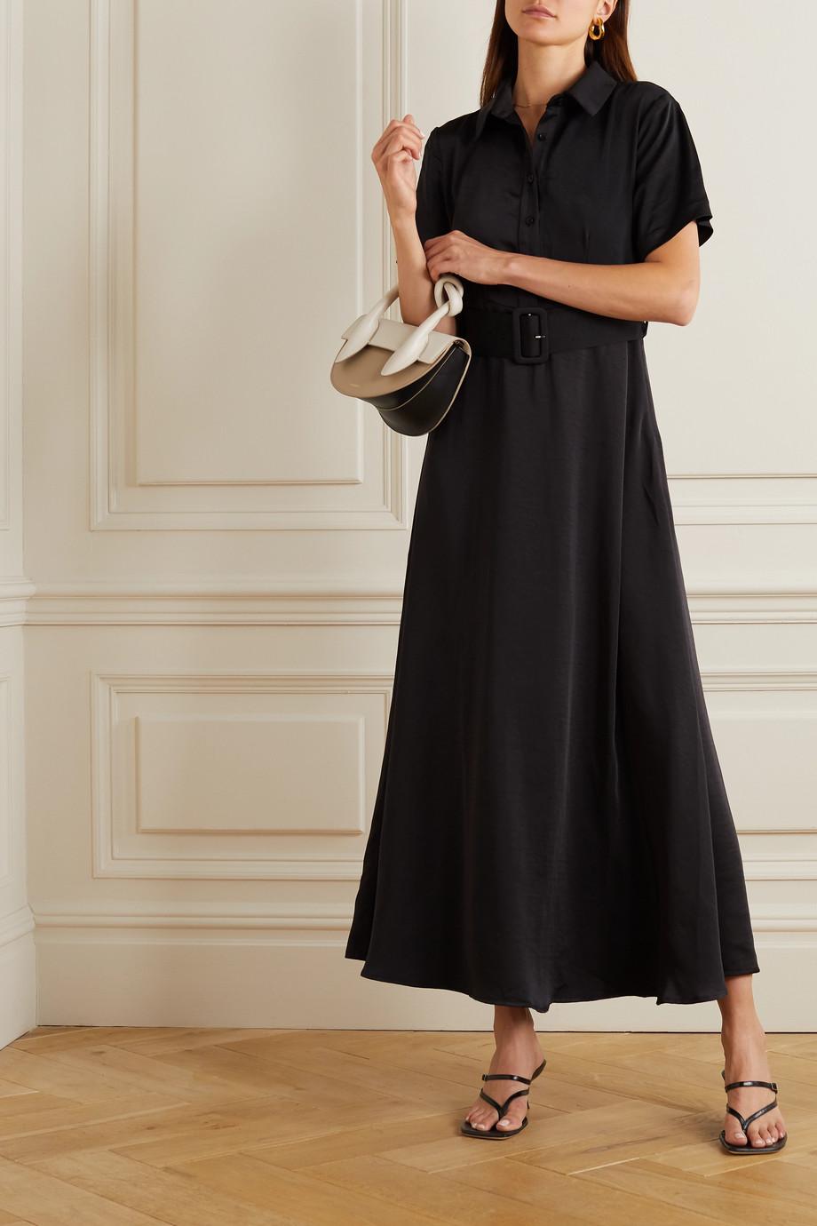 MUNTHE 配腰带水洗缎布中长衬衫式连衣裙