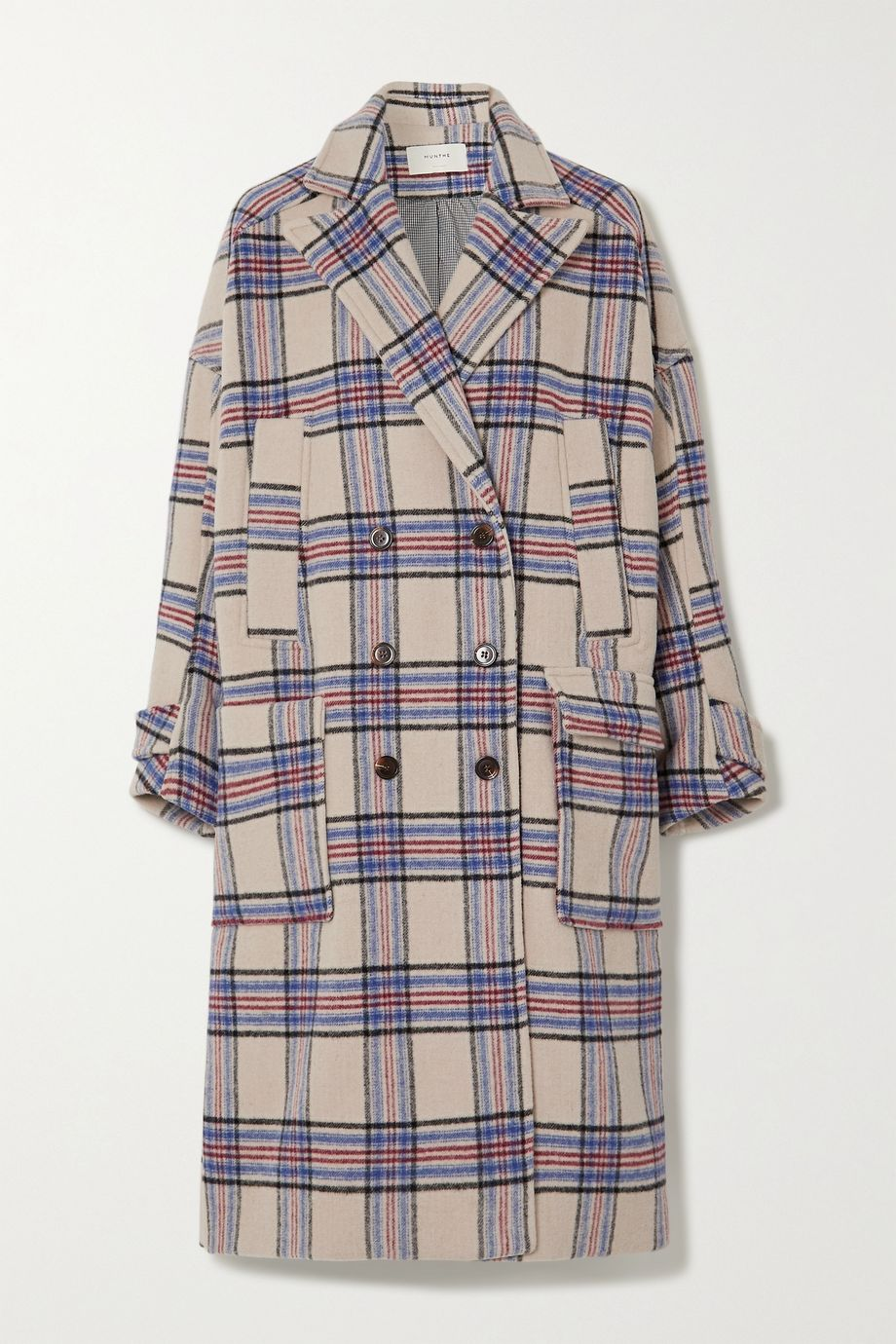 MUNTHE Lin oversized double-breasted checked wool-blend coat