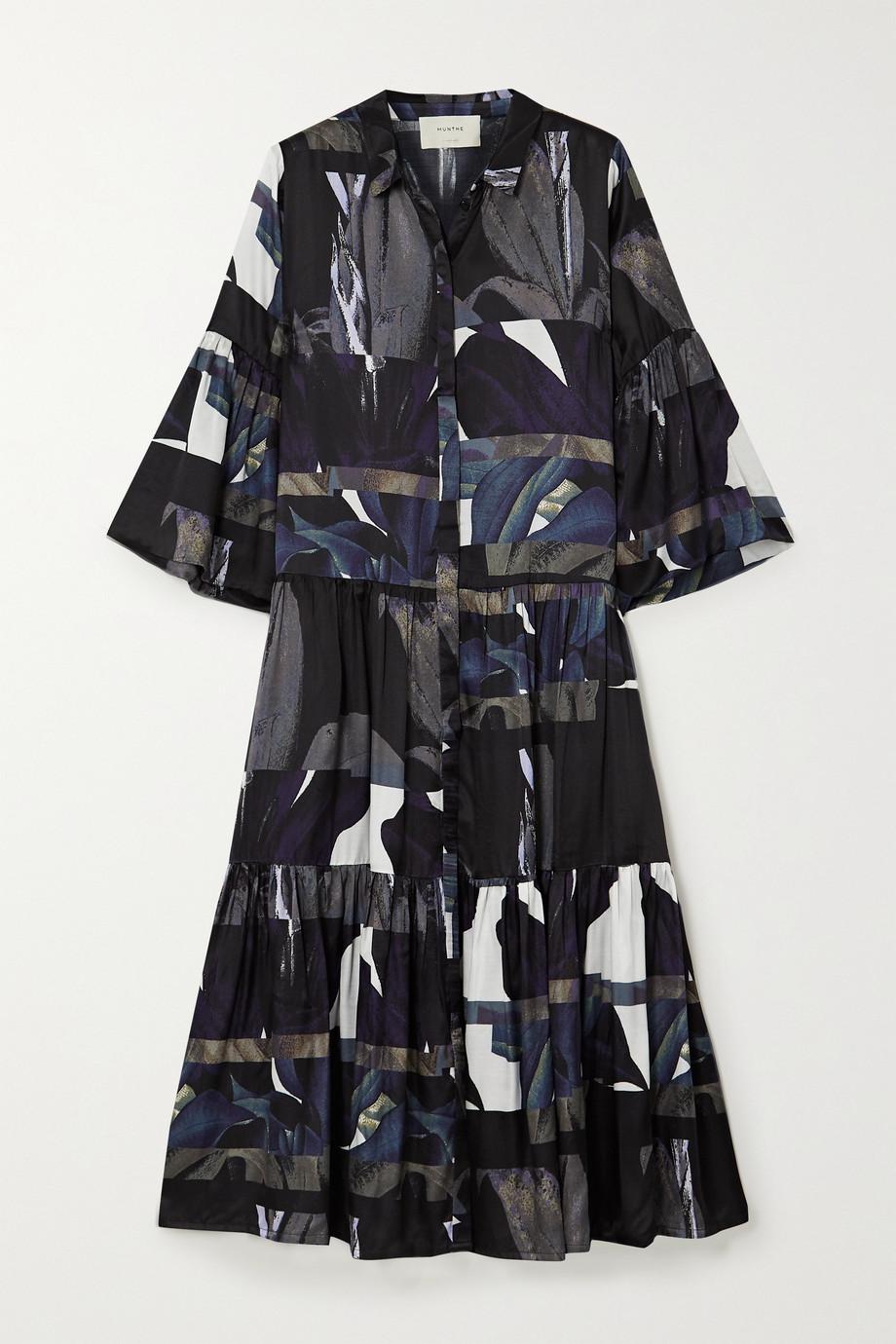 MUNTHE Emmanuel tiered printed matte-satin midi shirt dress