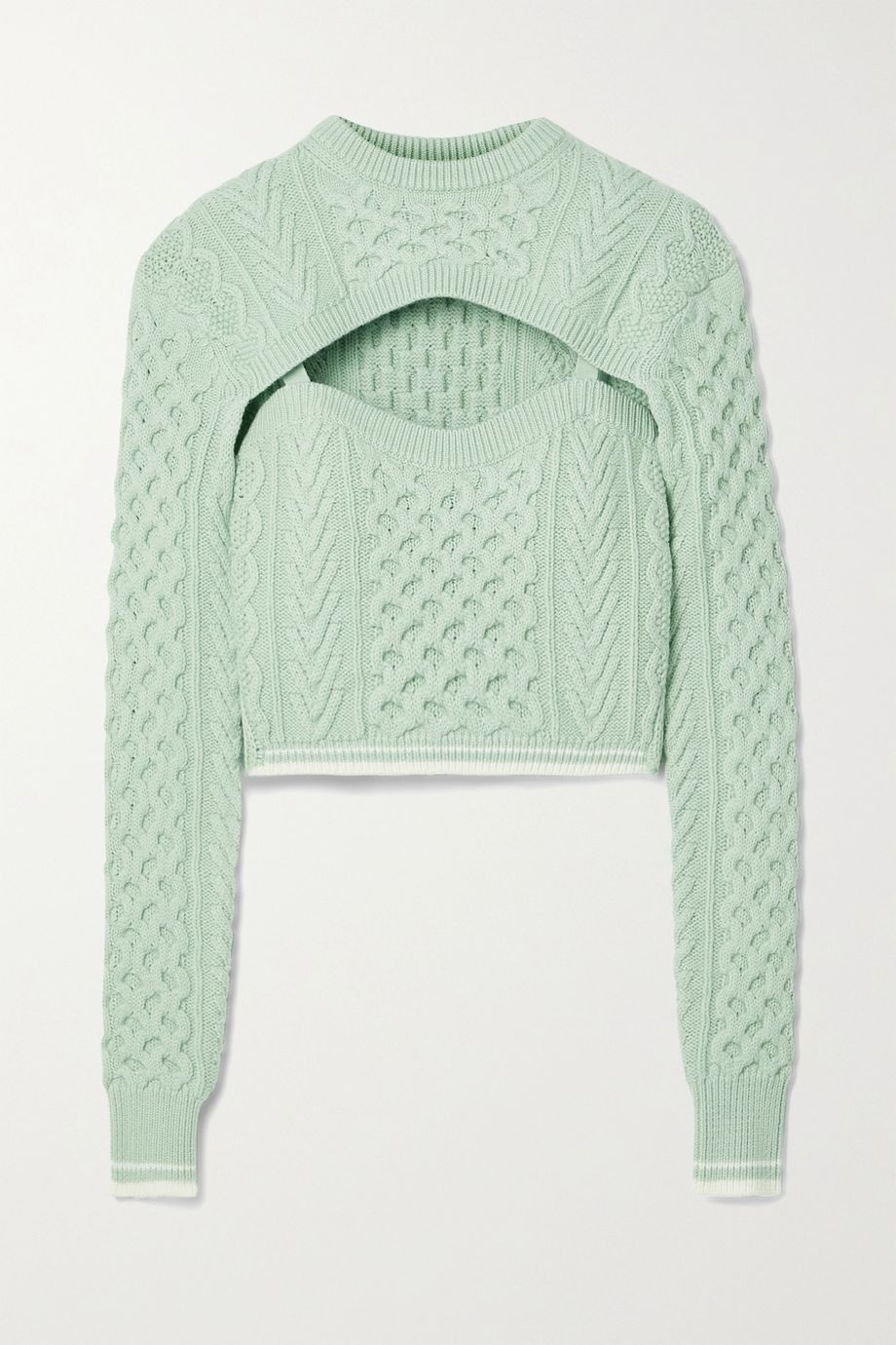 Rosie Assoulin Thousand in One Ways convertible cropped cable-knit wool and cotton-blend sweater