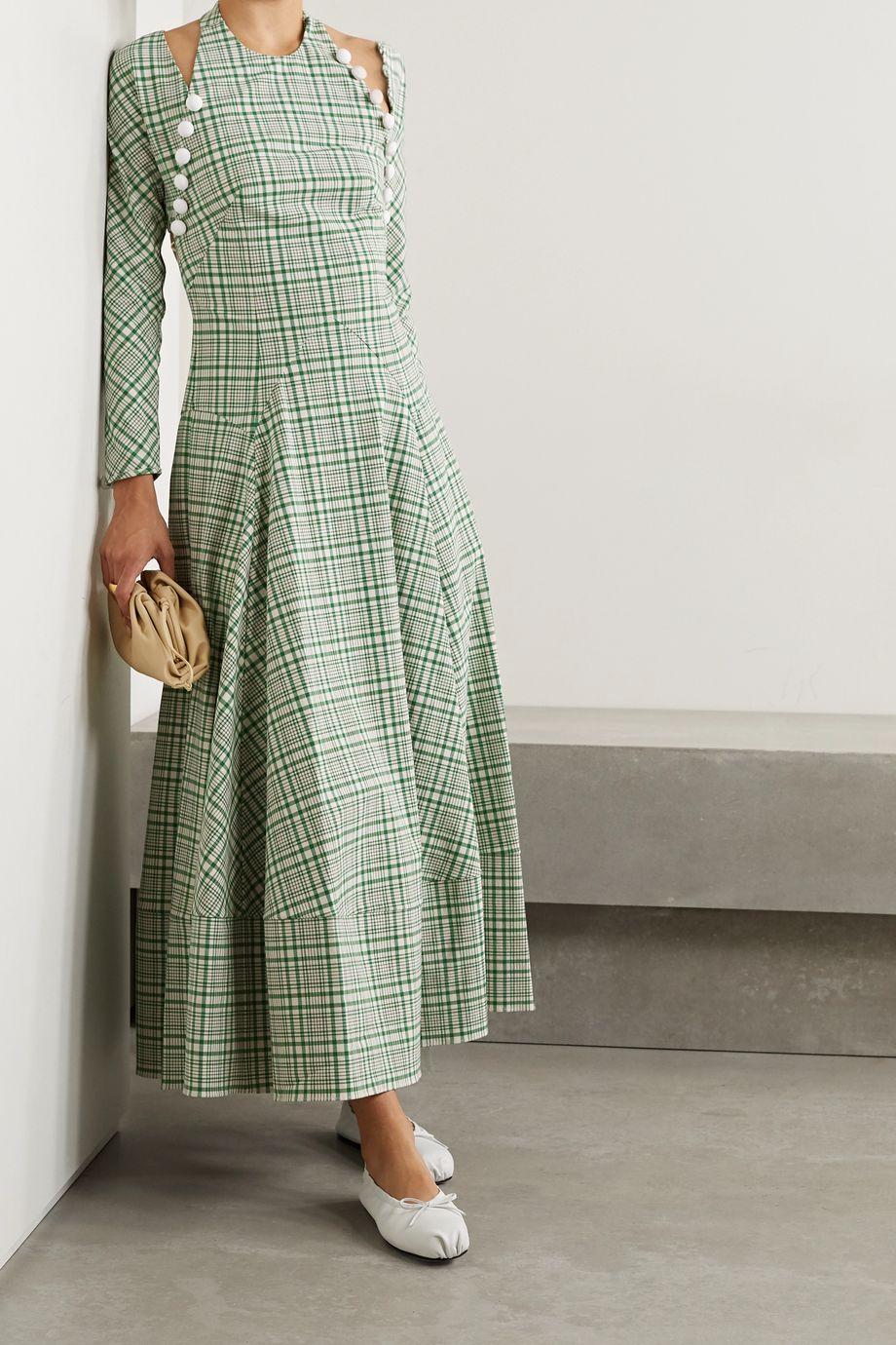 Rosie Assoulin Hold My Bolero wandelbares Maxikleid aus einer karierten Baumwollmischung mit Cut-outs