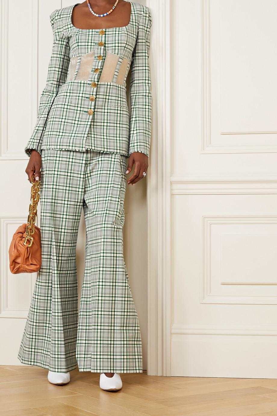 Rosie Assoulin Organza-paneled checked cotton-blend canvas blazer