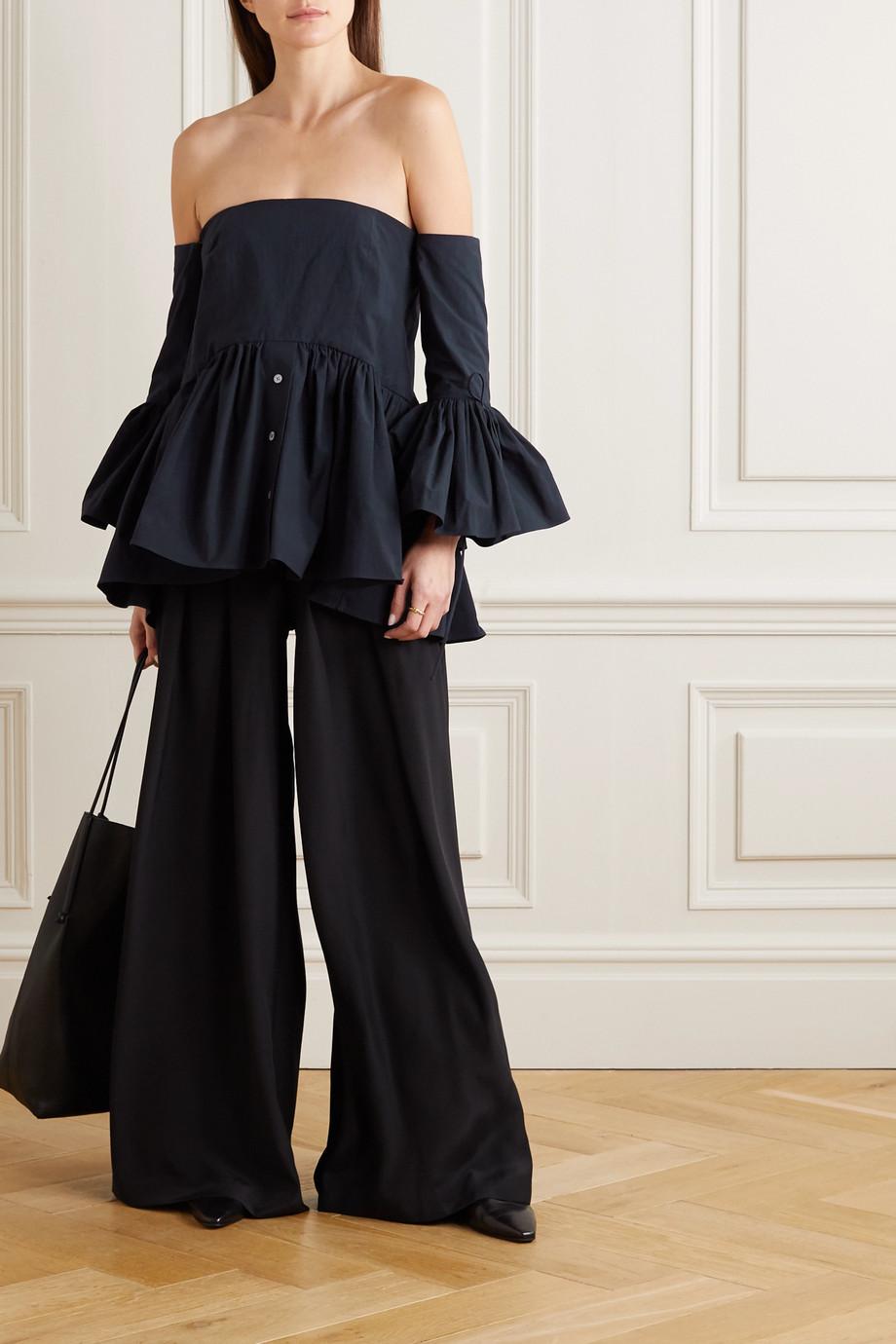 Rosie Assoulin Court off-the-shoulder convertible cotton-poplin peplum blouse