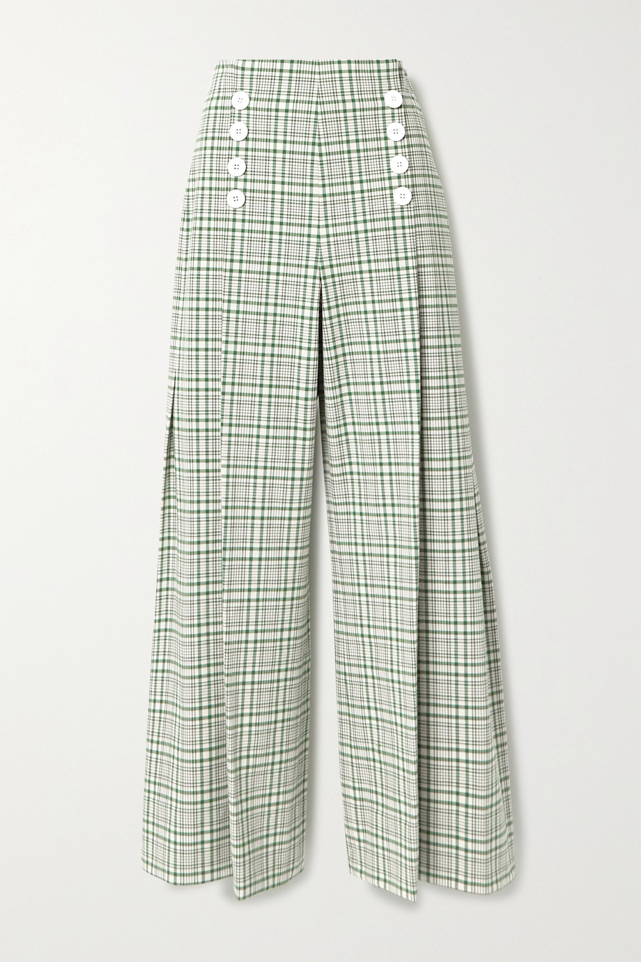 Rosie Assoulin Pleated checked cotton-blend canvas wide-leg pants