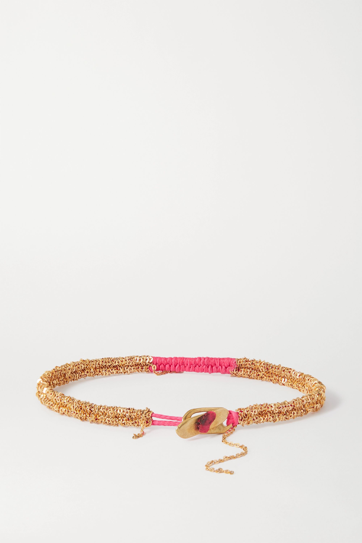 Katia Alpha Geflochtenes Armband aus Kordel und Gold-Vermeil