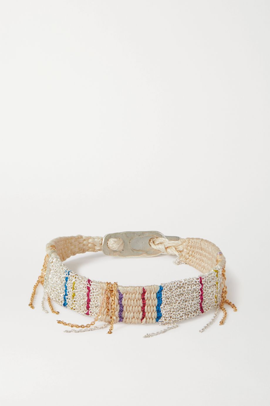 Katia Alpha Woven cord, gold vermeil and silver bracelet