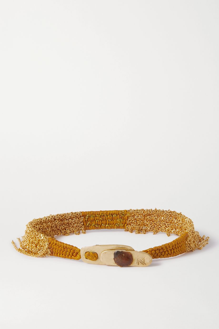 Katia Alpha Beaded woven cord and gold vermeil bracelet