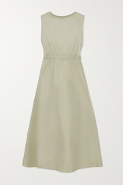 Frankie Shop Erica cutout cotton and linen-blend poplin midi dress