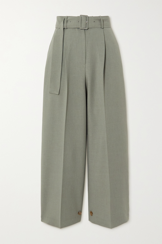 Army Green Elvira Pleated Crepe Straight-leg Pants   Frankie Shop