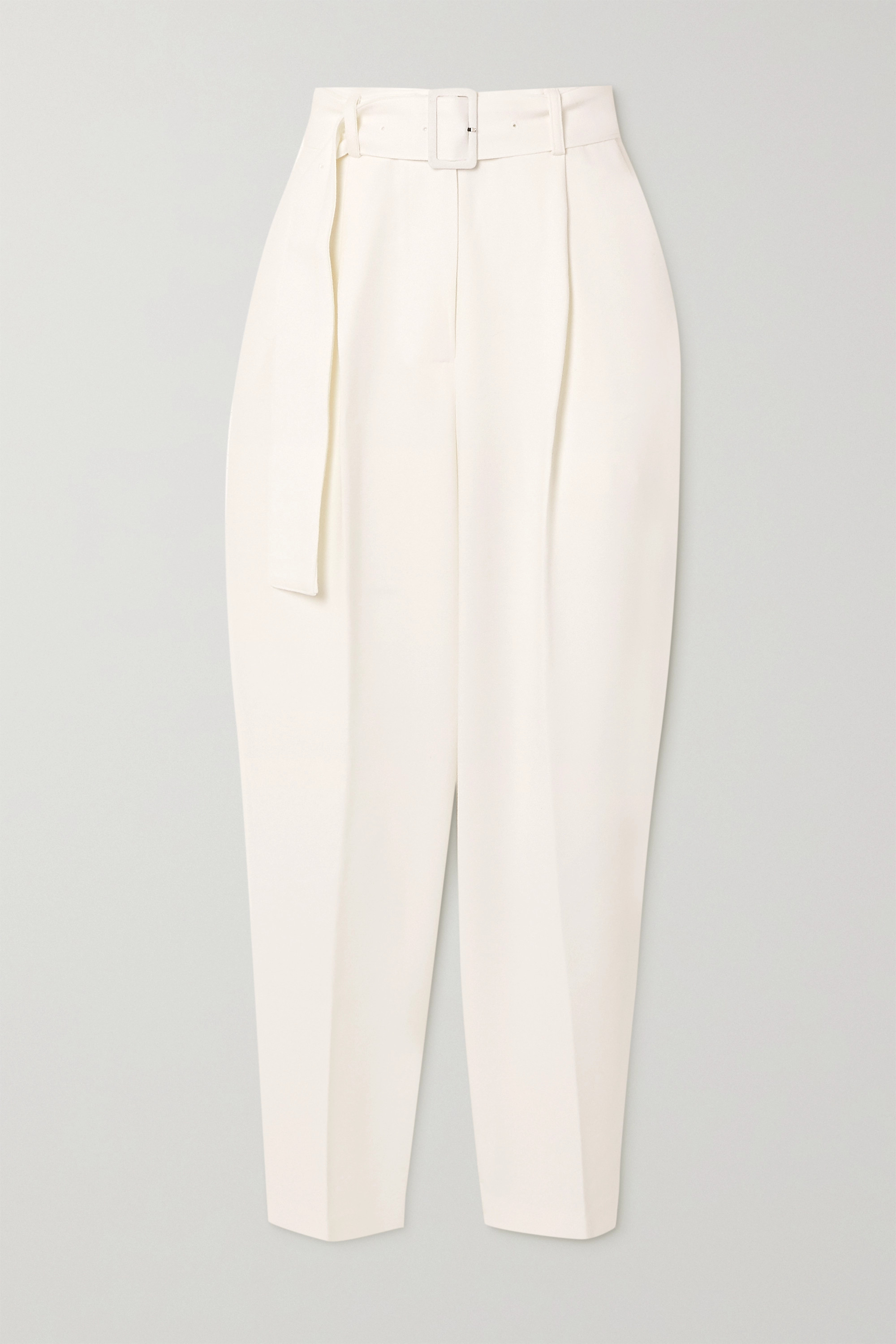 Belted Woven Trousers White