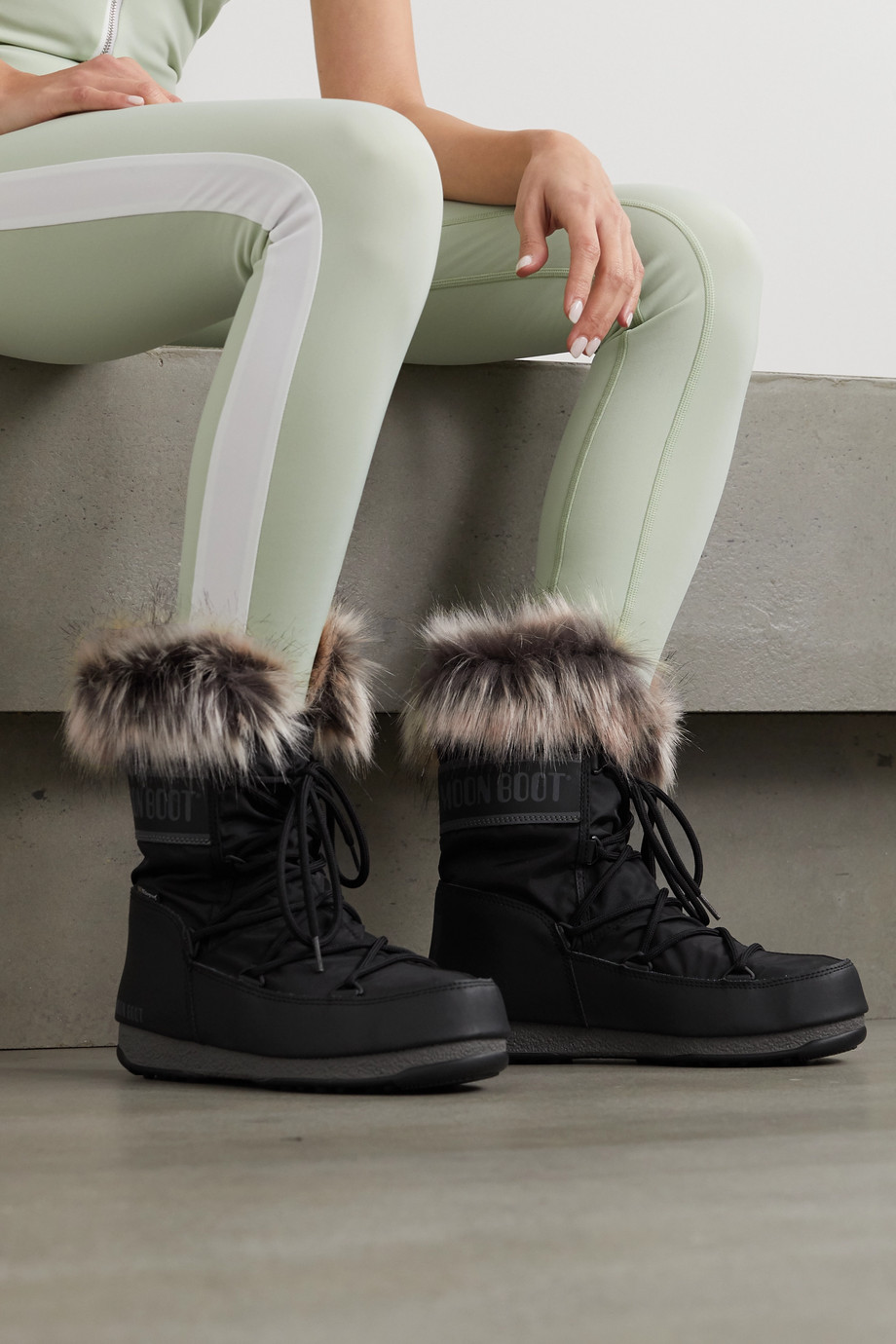 Moon Boot Monaco faux fur-trimmed shell and faux leather snow boots