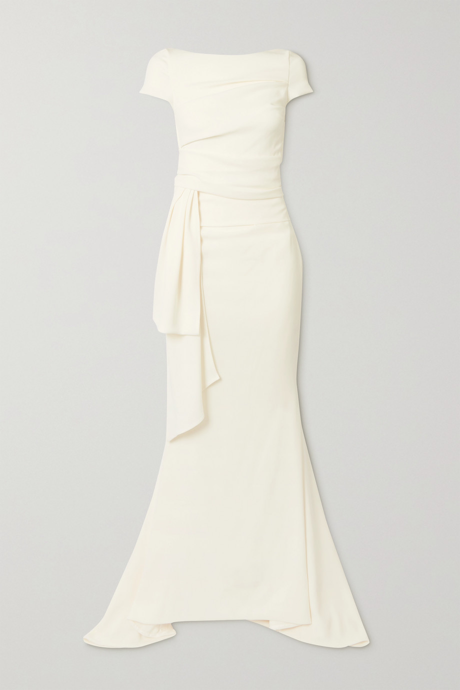 Talbot Runhof Bouvier gathered draped crepe gown