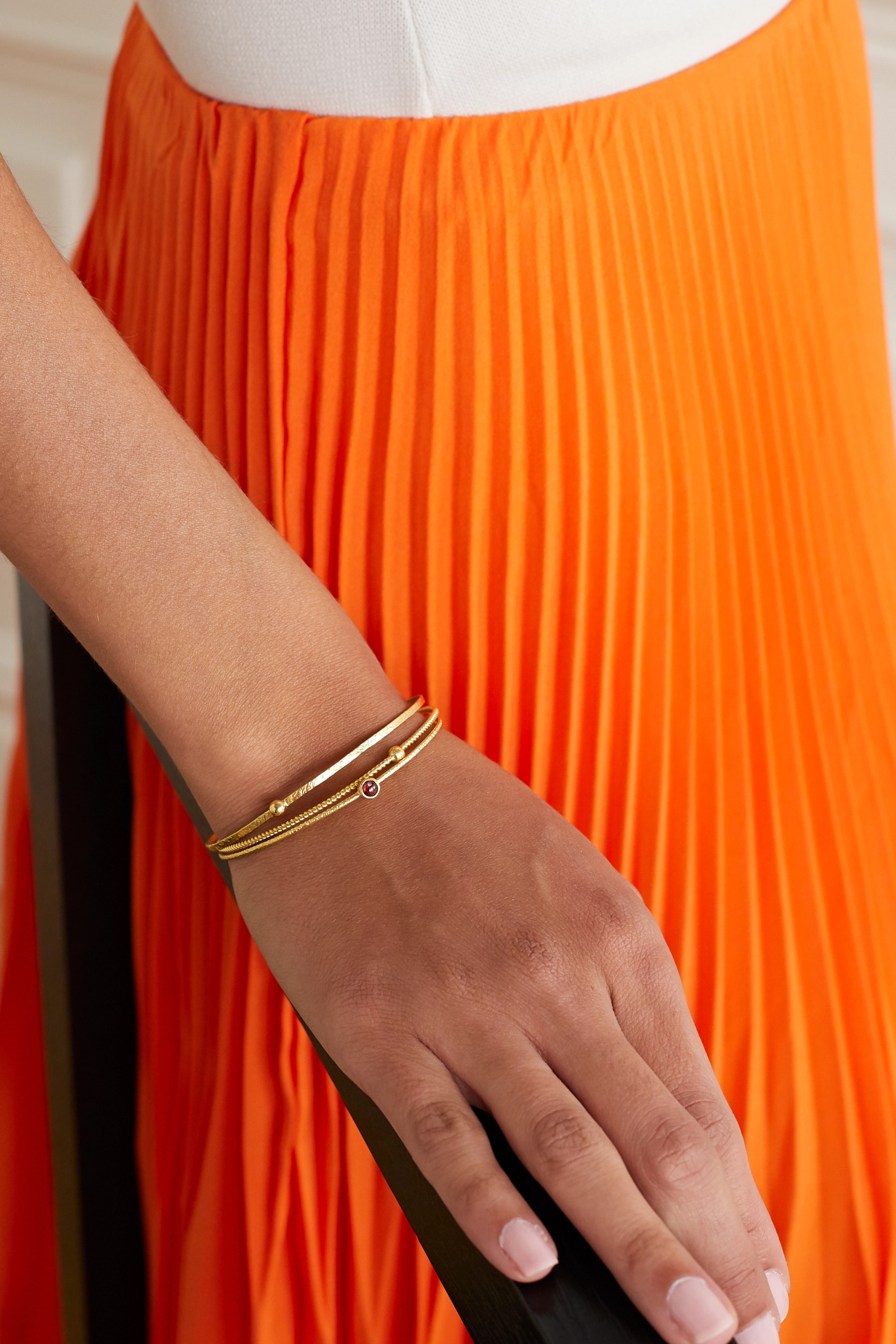 Pippa Small + NET SUSTAIN set of three 18-karat gold and spinel bangles