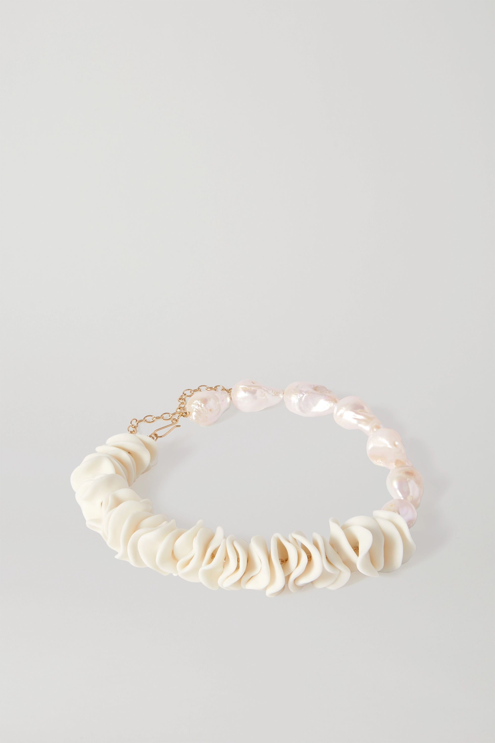 Completedworks 56 Reasons to Start an Allotment gold vermeil, ceramic and pearl necklace