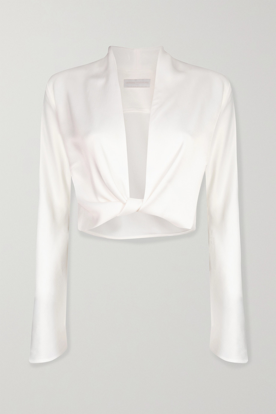 Vanessa Cocchiaro Herta cropped satin wrap top