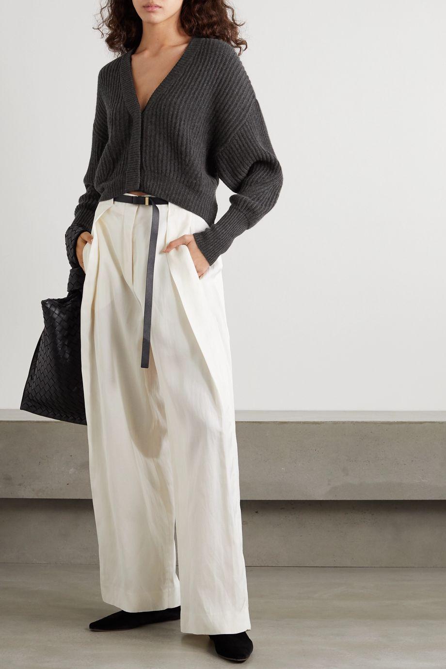 Le Kasha Monaco cropped ribbed cashmere cardigan