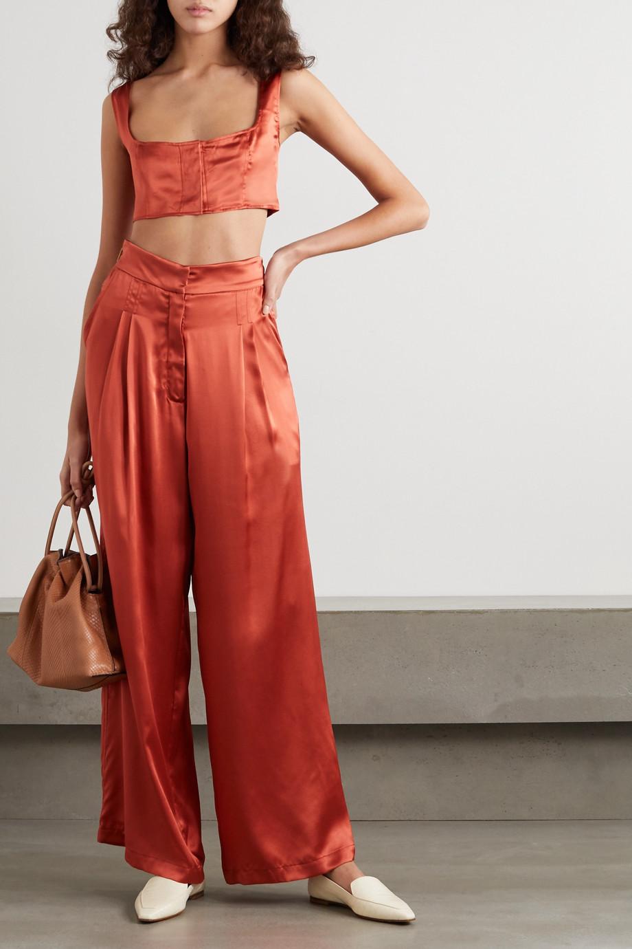 Le Kasha Jilin cropped silk-satin top