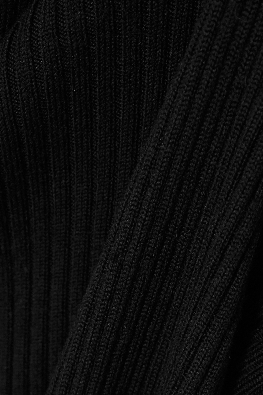 Black Asymmetric Ribbed Merino Wool-blend Midi Dress | Michael Kors
