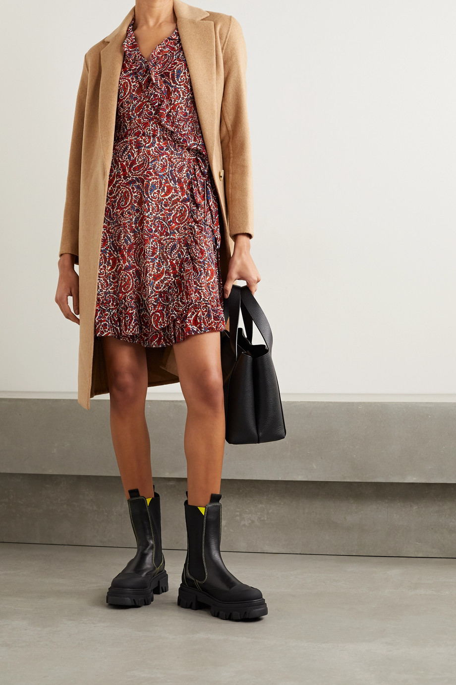 MICHAEL Michael Kors Ruffled paisley-print crepe wrap mini dress