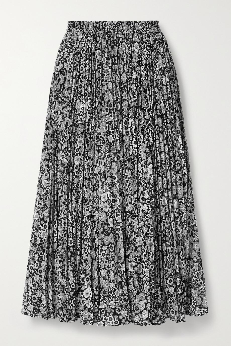 MICHAEL Michael Kors Zinnia Midirock aus plissiertem Chiffon mit Blumenprint