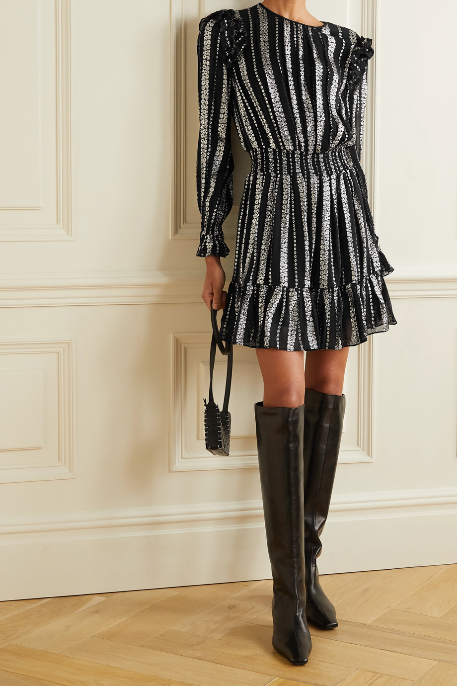 MICHAEL Michael Kors Ruffled metallic jacquard mini dress