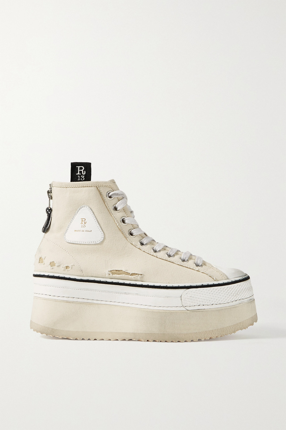 R13 Grosgrain-trimmed distressed canvas platform high-top sneakers
