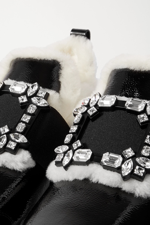 Roger Vivier Viv Run crystal-embellished shearling-trimmed patent-leather sneakers