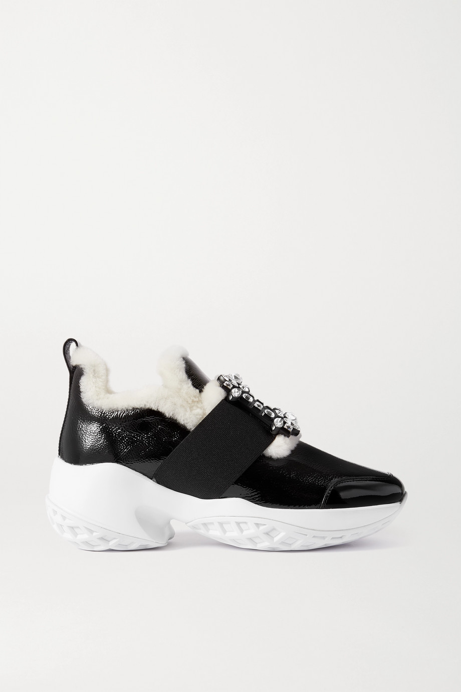 Roger Vivier Viv Run crystal-embellished shearling-trimmed patent-leather sneakers