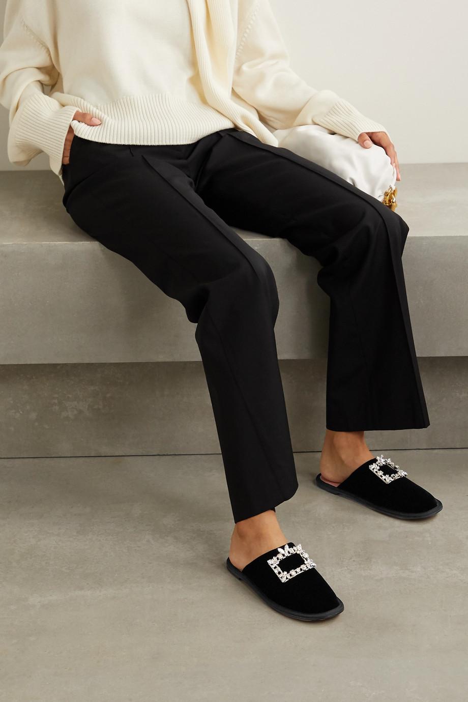 Roger Vivier Hotel Vivier crystal-embellished velvet slippers