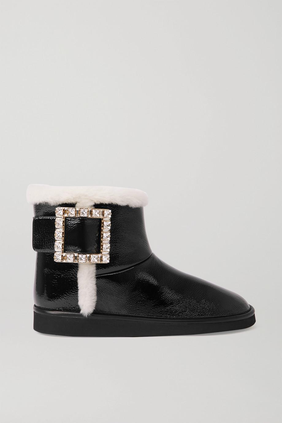 Roger Vivier Viv Snow Ankle Boots aus Lackleder mit Kristallen und Shearling-Besätzen