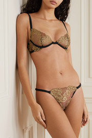 Coco de Mer Hikaru metallic lace and satin underwired soft-cup bra