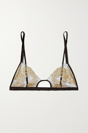 Coco de Mer Hikaru cutout metallic lace and satin soft-cup bra