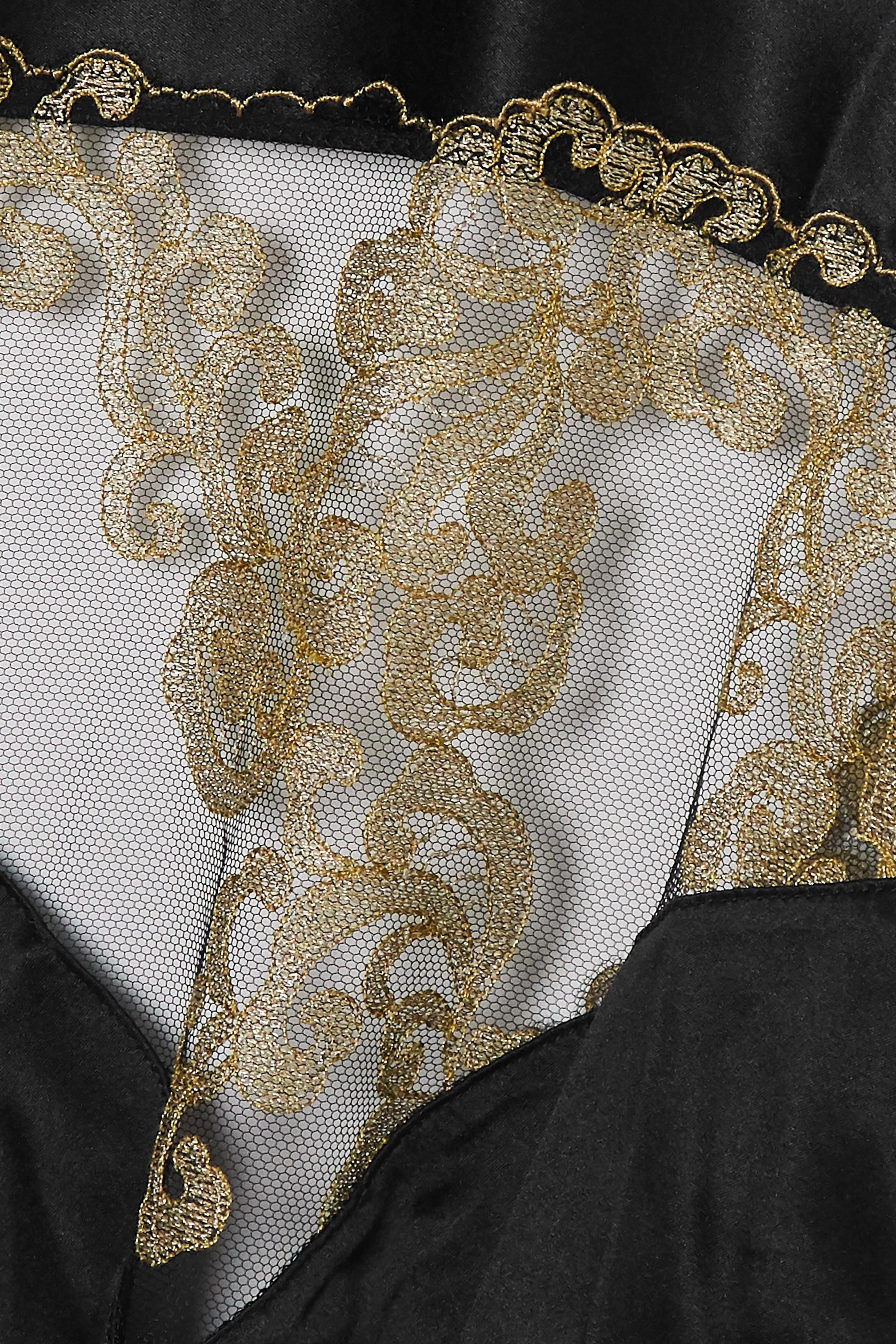 Coco de Mer Hikaru cutout metallic lace and satin bodysuit