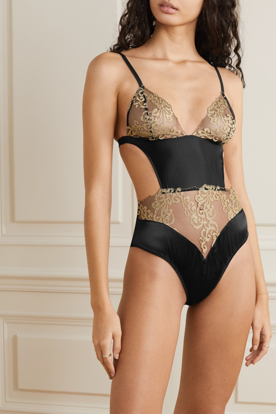 Coco de Mer Hikaru cutout metallic lace and satin bodysuit