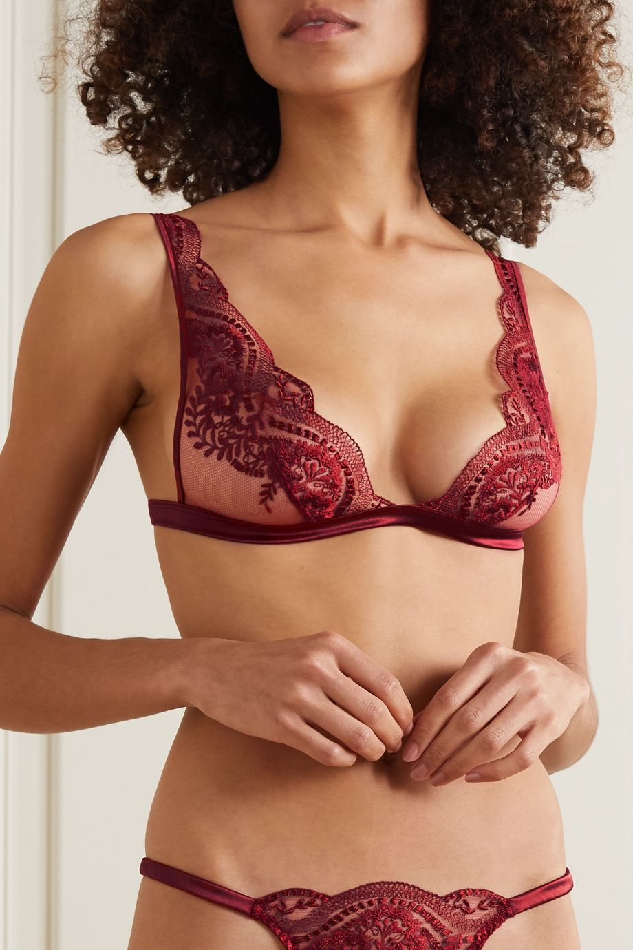 Coco de Mer Akiko satin-trimmed embroidered stretch-tulle soft-cup triangle bra