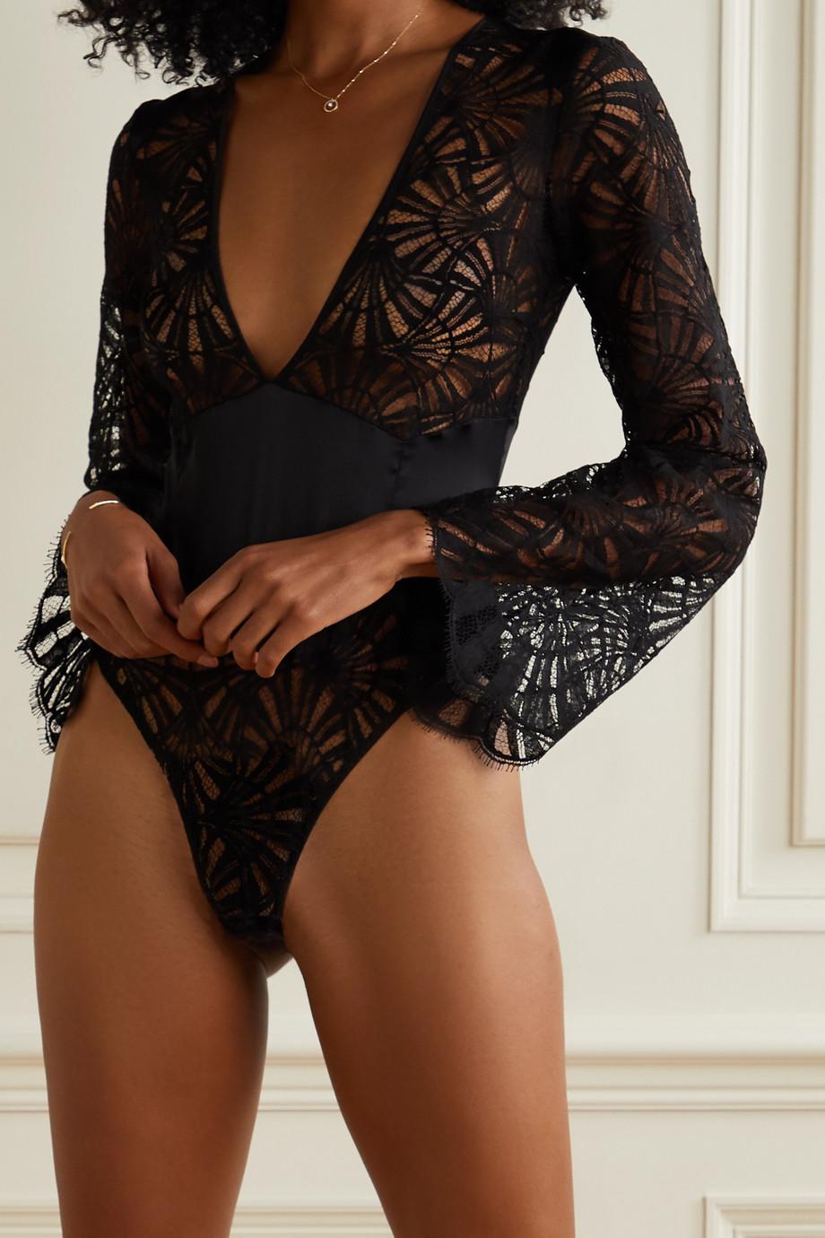 Coco de Mer Fuji cutout satin-trimmed lace thong bodysuit