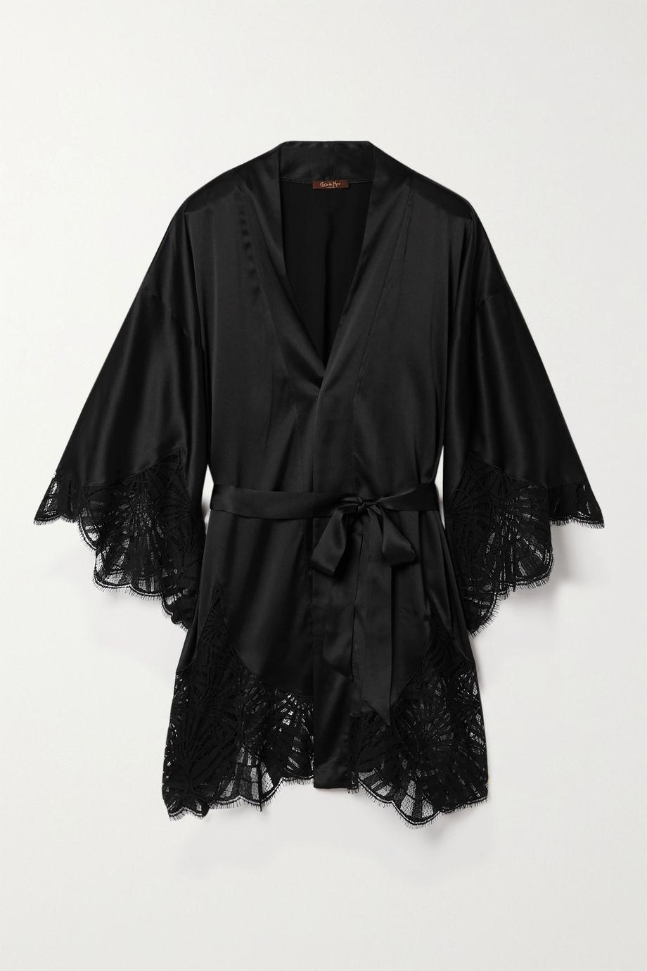 Coco de Mer Fuji lace-trimmed satin robe