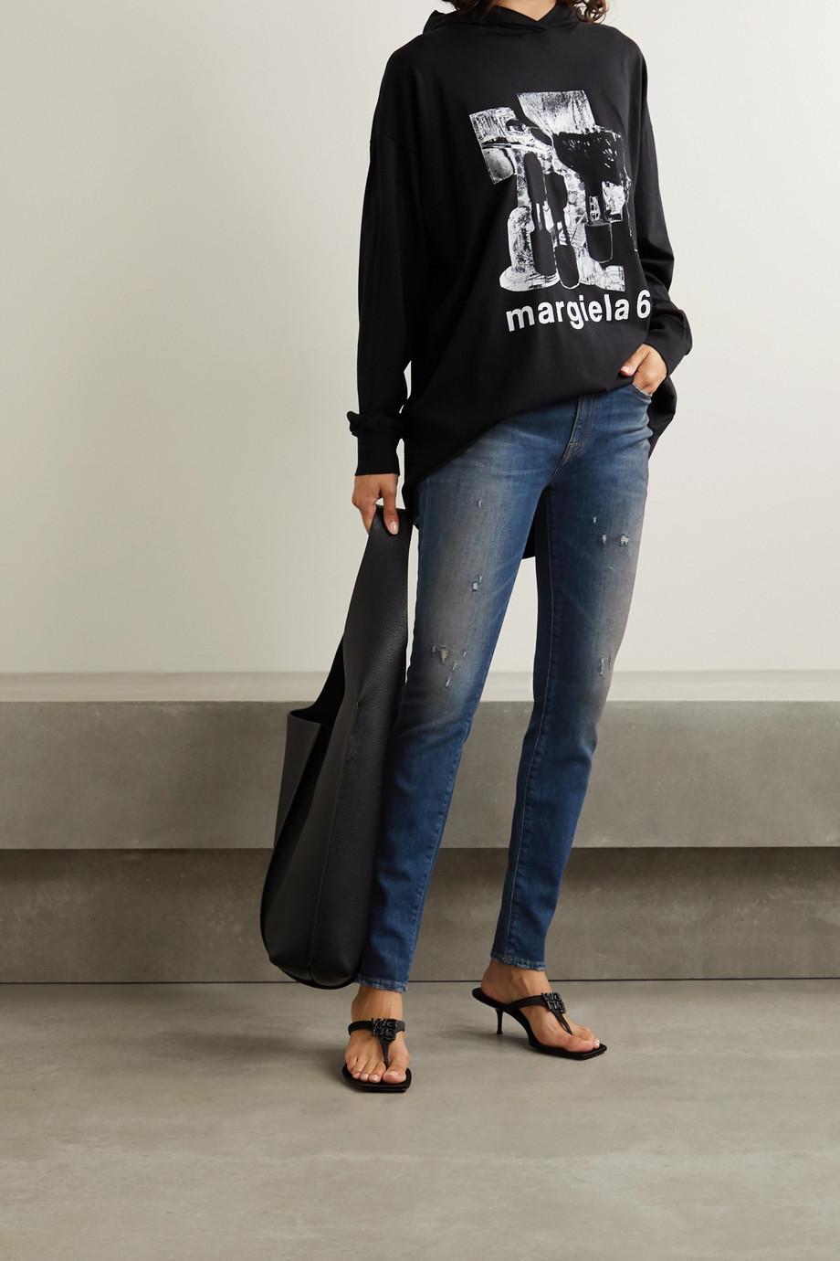 R13 Alison hoch sitzende Skinny Jeans in Distressed-Optik