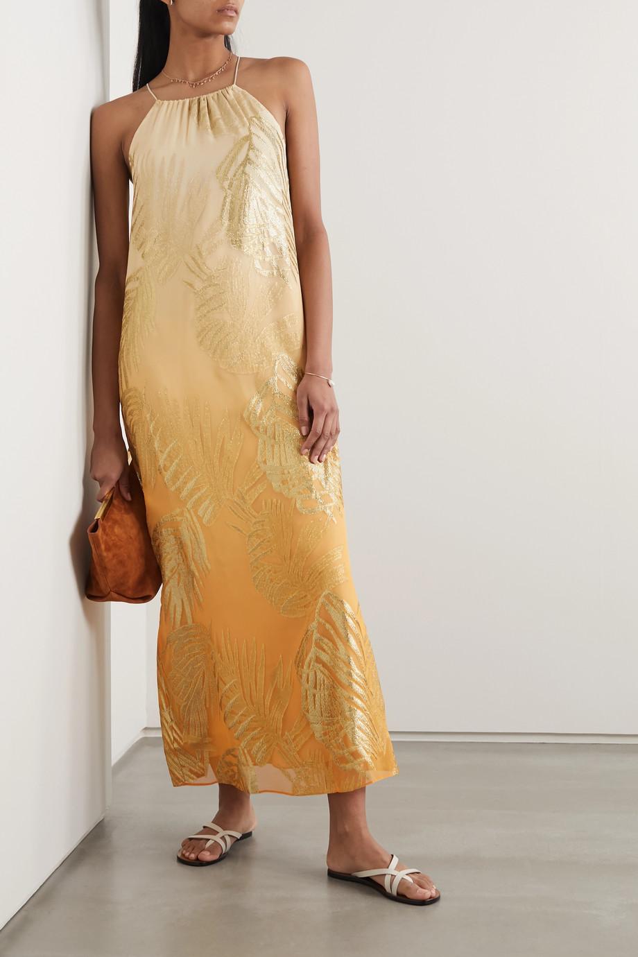 Marie France Van Damme Metallic fil coupé silk-blend chiffon dress