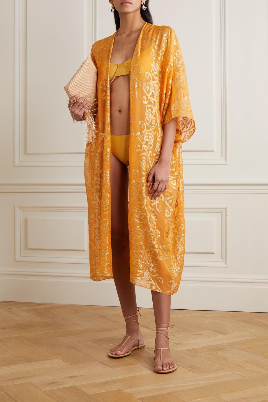 Marie France Van Damme Babani metallic fil coupé silk-blend georgette robe