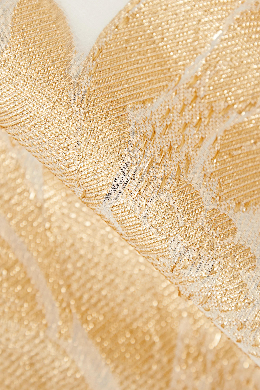 Marie France Van Damme Metallic fil coupé silk-blend georgette kaftan
