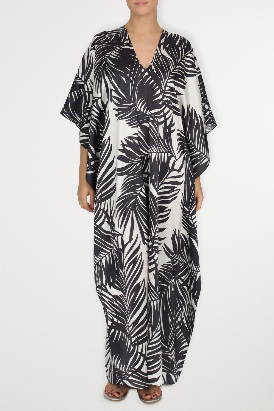 Marie France Van Damme Printed silk crepe de chine kaftan